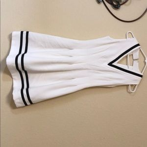 White and Navy H and M tennis style pleated-dress